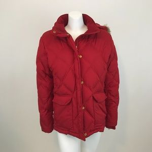Lands End Red Hooded Down Puffer Coat L